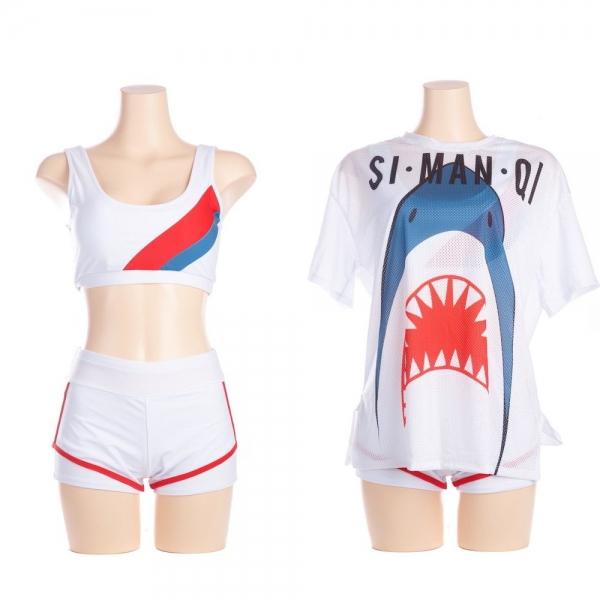 即納 スポブラ+2枚重ねショートパンツ+メッシュカバーシャツ 3点セット 鮮やかなオレンジレッドとブルーのライン 陽気なサメ鮫シャーク柄プリント フィットネス水着 スポーツ水着 ジム水着 gsw10012