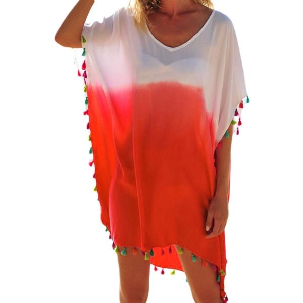 【インポート水着】【ホワイト】オレンジ【フリンジ】ビーチカバー【ビーチドレス】ビーチグッズ【ビーチファッション】 cc42161-14