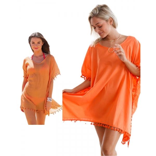 【インポート水着】【オレンジ】ポンポン【フリンジ】裾【メッシュ】カバーアップ【ビーチドレス】ビーチグッズ【ビーチファッション】 cc42162-14