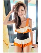 【即納】TKM-n4457★お急ぎ【水着】ワンピース水着 | 着痩せ-【カラー:オレンジ】-【サイズ:L】