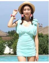 【即納】ワンピース水着肩リボン付き-tkm-n4615-lbl-xl-【カラー:ライトブルー】-【サイズ:XL】