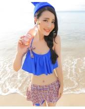 【即納】フリルビキニ水着/スカートつきショートパンツ2点セット-tkm-n7012-bl-m-【カラー:ブルー】-【サイズ:M】