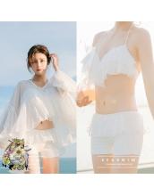 ビキニ水着 ワイヤー入り フレアトップ バストアップ ハイウエスト 体型カバー 可愛い レディース 水着 & シフォンラッシュガード 3点 セットアップ水着 夏の光に映える白 ホワイト xsw10135-1